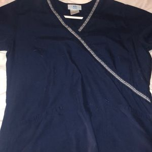 Great condition, worn, navy, scrub top.
